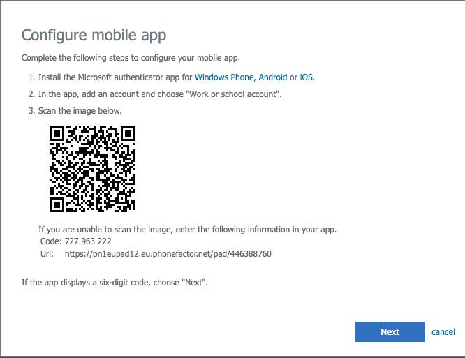 MFA mobile app QR code