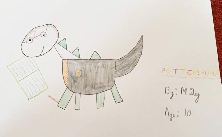 Harry Potter themed hand-drawn dinosaur