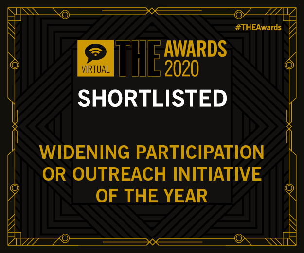 Image of the Times Higher Education Awards 2020 logo, for shortlisted entries within the Widening Participation or Outreach Initiative of the Year category.