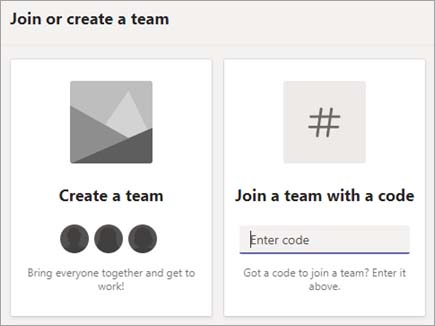 Join a Team with a code - enter the code