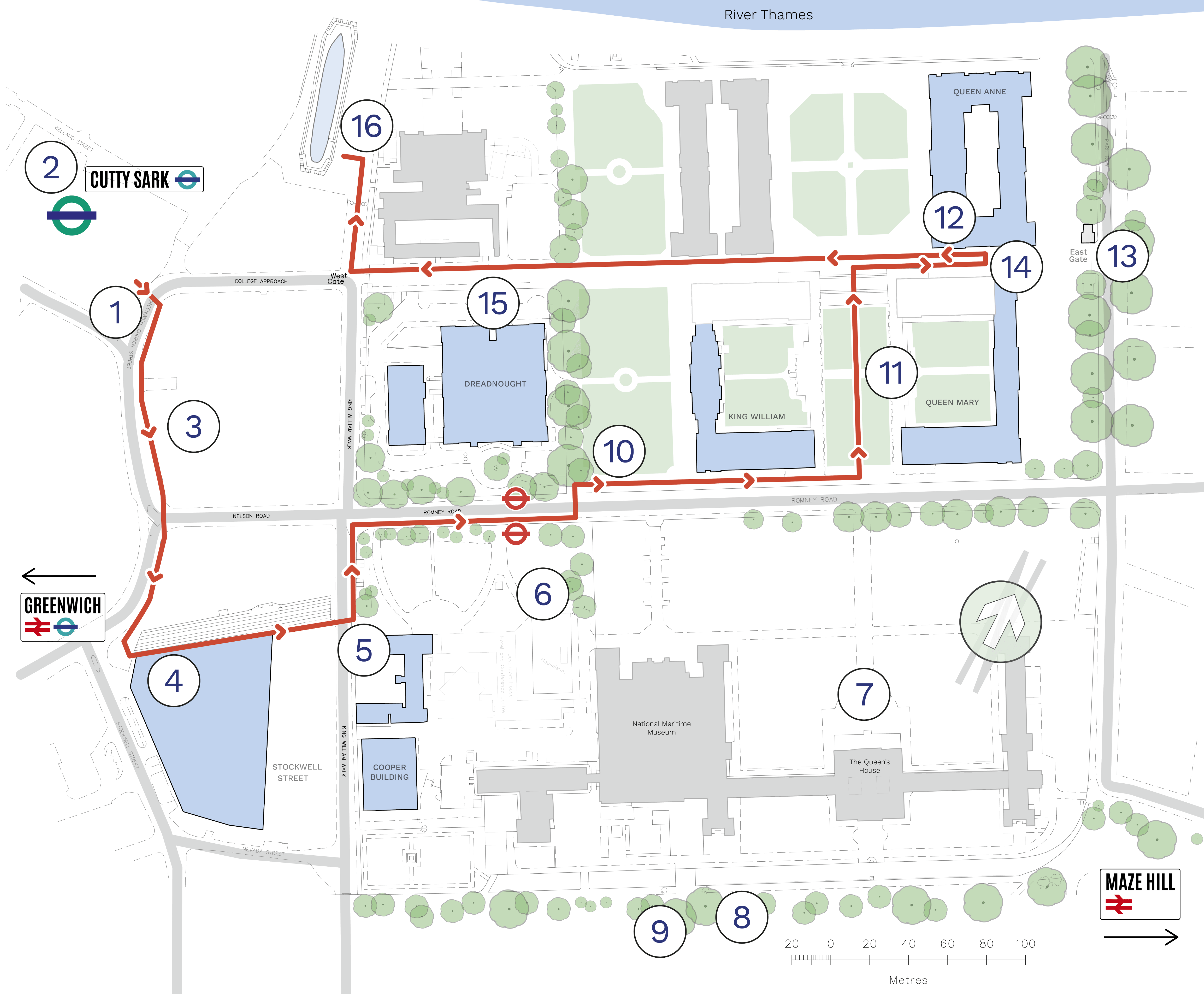 Audio tour map of Greenwich Campus